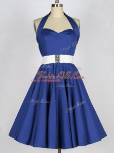 Blue A-line Taffeta Halter Top Sleeveless Belt Knee Length Lace Up Bridesmaids Dress