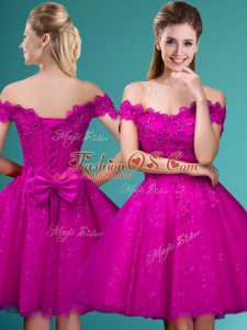 Knee Length Fuchsia Bridesmaid Dresses Off The Shoulder Cap Sleeves Lace Up
