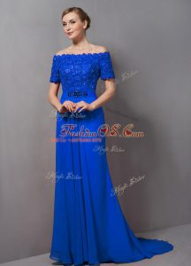 Shining Off The Shoulder Short Sleeves Chiffon Mother Of The Bride Dress Lace Sweep Train Zipper