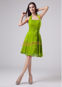High Class Sleeveless Knee Length Ruching Zipper Mother Of The Bride Dress with Green
