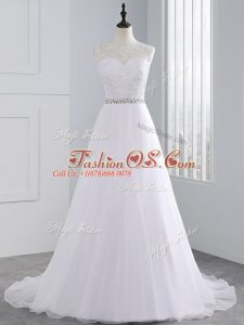 Popular Sleeveless Beading and Lace and Appliques Zipper Wedding Dresses with White Brush Train