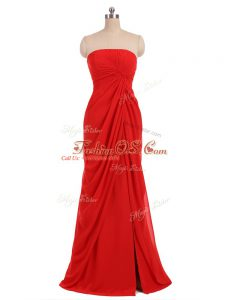 Sumptuous Red Sleeveless Ruching Floor Length Quinceanera Court Dresses