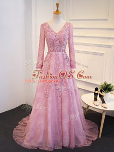 Admirable Pink Long Sleeves Tulle Brush Train Lace Up Mother Of The Bride Dress for Prom and Party and Military Ball and Sweet 16