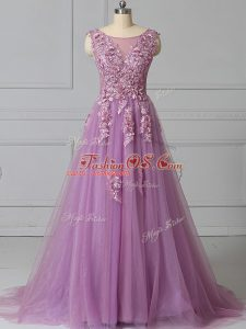 Trendy Lilac Tulle Lace Up Military Ball Gowns Sleeveless Brush Train Appliques and Pattern