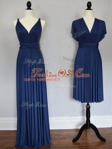 Navy Blue Straps Lace Up Ruching Wedding Guest Dresses Sleeveless
