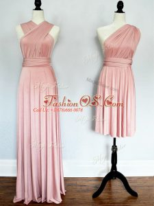 Fine Ruching Damas Dress Pink Lace Up Sleeveless Floor Length