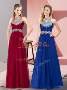 Wine Red Backless Red Carpet Prom Dress Beading Sleeveless Floor Length