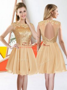 Champagne A-line Bateau Sleeveless Chiffon Knee Length Backless Beading and Lace Vestidos de Damas