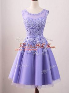 Low Price Knee Length Lace Up Wedding Guest Dresses Lavender for Prom and Party and Wedding Party with Lace