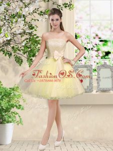 Most Popular Light Yellow A-line Organza Off The Shoulder Sleeveless Lace and Belt Knee Length Lace Up Quinceanera Dama Dress