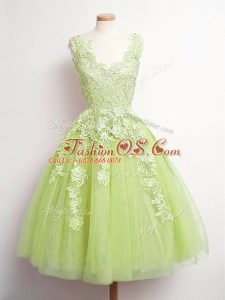 Stunning Knee Length A-line Sleeveless Yellow Green Wedding Guest Dresses Lace Up