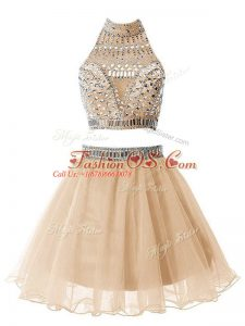 Knee Length Zipper Damas Dress Champagne for Party and Wedding Party with Beading