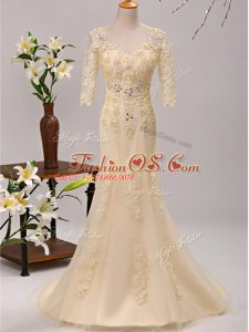 Nice 3 4 Length Sleeve Beading and Lace and Appliques Lace Up Mother Of The Bride Dress with Champagne Brush Train
