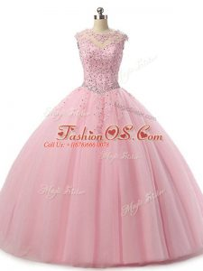 Baby Pink Sleeveless Floor Length Beading and Lace Lace Up Quinceanera Dress