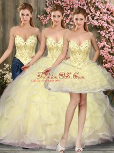 Sleeveless Tulle Floor Length Lace Up Vestidos de Quinceanera in Light Yellow with Beading and Ruffles