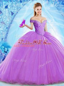 Lavender Sweet 16 Quinceanera Dress Military Ball and Sweet 16 and Quinceanera with Beading Off The Shoulder Sleeveless Brush Train Lace Up