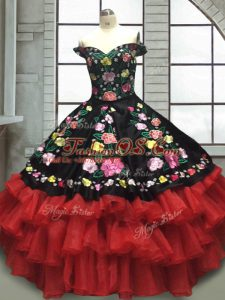 Fine Red And Black 15 Quinceanera Dress Military Ball and Sweet 16 and Quinceanera with Embroidery and Ruffled Layers Off The Shoulder Sleeveless Lace Up