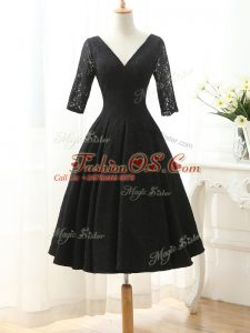 Half Sleeves Knee Length Lace and Appliques Lace Up Prom Gown with Black