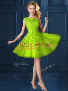 Yellow Green A-line Bateau Cap Sleeves Tulle Knee Length Lace Up Lace and Appliques Bridesmaid Dresses