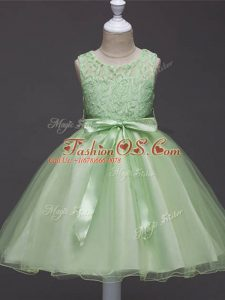 Scoop Sleeveless Little Girl Pageant Dress Knee Length Lace and Belt Organza
