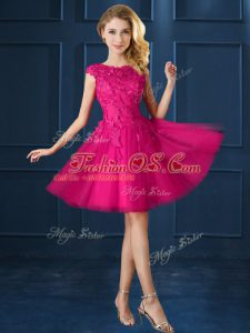 Fuchsia Lace Up Quinceanera Court of Honor Dress Lace and Belt Cap Sleeves Knee Length