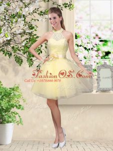 Light Yellow Sleeveless Knee Length Lace and Belt Lace Up Bridesmaid Gown