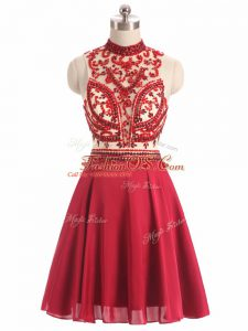 Red A-line Chiffon Halter Top Sleeveless Beading Mini Length Backless Cocktail Dresses