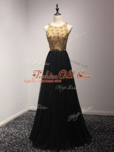 Great Black Tulle Lace Up Womens Party Dresses Sleeveless Floor Length Beading and Lace and Appliques