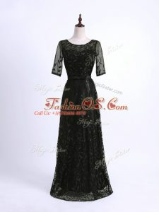 Free and Easy Black Scoop Lace Up Lace and Appliques Mother Of The Bride Dress Half Sleeves