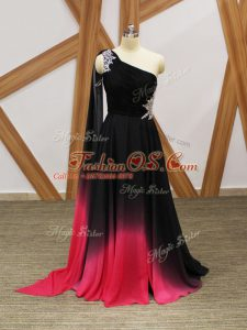 Custom Designed Beading and Ruching Party Dress Multi-color Criss Cross Sleeveless Brush Train