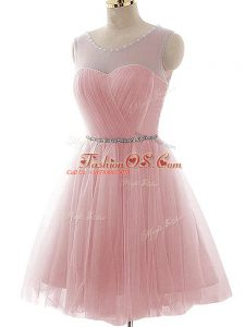 Ideal Pink A-line Scoop Sleeveless Tulle Mini Length Lace Up Beading and Ruching Homecoming Dress