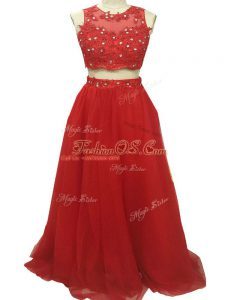 High End Red Two Pieces Scoop Sleeveless Tulle Sweep Train Zipper Beading and Appliques Military Ball Gowns