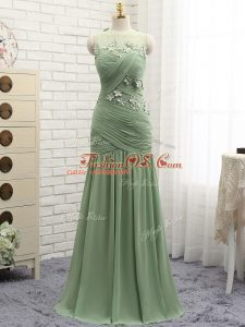 Flare Chiffon Sleeveless Homecoming Dress Brush Train and Ruching and Hand Made Flower