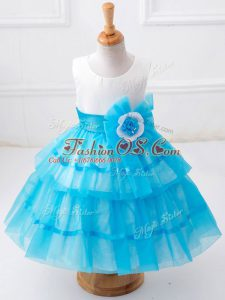 Glorious Sleeveless Ruffled Layers and Hand Made Flower Zipper Little Girl Pageant Gowns