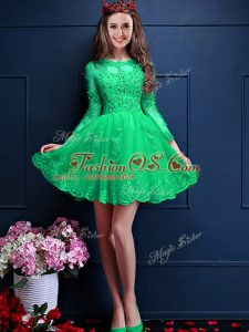 Scalloped 3 4 Length Sleeve Bridesmaid Gown Mini Length Beading and Lace and Appliques Apple Green Chiffon
