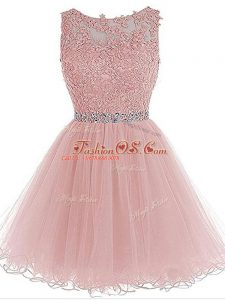 Pink Organza Zipper Scoop Sleeveless Mini Length Prom Evening Gown Beading and Lace and Appliques