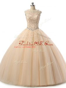 Modern Floor Length Champagne Sweet 16 Quinceanera Dress Tulle Sleeveless Beading and Lace