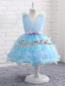 Sleeveless Knee Length Appliques and Hand Made Flower Zipper Pageant Gowns For Girls with Baby Blue
