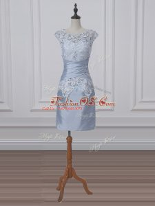 Short Sleeves Zipper Mini Length Lace and Appliques Mother Of The Bride Dress