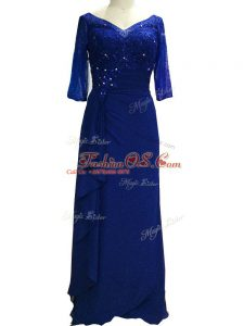 Beauteous Beading Mother Of The Bride Dress Royal Blue Zipper Sleeveless Floor Length