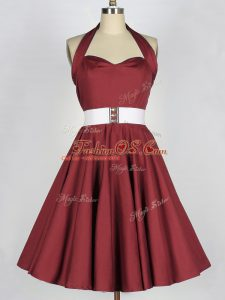 Delicate Burgundy Taffeta Lace Up Quinceanera Dama Dress Sleeveless Knee Length Belt