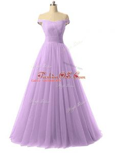 Beauteous Lavender Off The Shoulder Neckline Ruching Military Ball Gown Sleeveless Lace Up