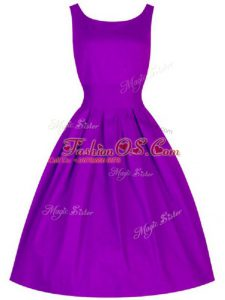 Super Knee Length A-line Sleeveless Purple Quinceanera Dama Dress Lace Up