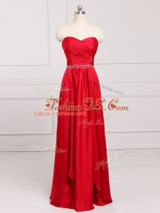 Graceful Sweetheart Sleeveless Bridesmaid Dress Floor Length Beading and Belt Red Taffeta