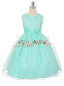 Scoop Sleeveless Little Girl Pageant Dress Knee Length Beading Apple Green Tulle