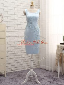 Decent Satin Sleeveless Mini Length Mother Of The Bride Dress and Lace and Appliques