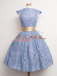 Vintage Blue Ball Gowns Belt Bridesmaid Dresses Lace Up Lace Cap Sleeves Knee Length