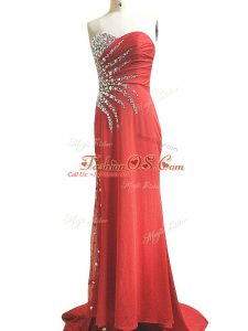 Romantic Red Celeb Inspired Gowns Prom and Military Ball and Beach with Beading and Ruching Sweetheart Sleeveless Brush Train Side Zipper