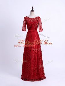 Elegant Tulle Half Sleeves Mother Of The Bride Dress and Lace