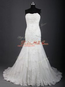 White Wedding Dresses Tulle Brush Train Sleeveless Lace
